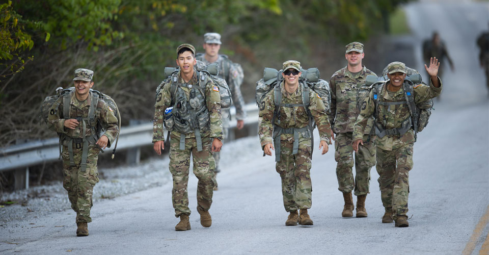 Photo of ROTC members on a hike with gear